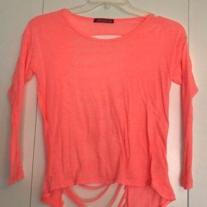 Coral long sleeve t shirt with cut  out back
